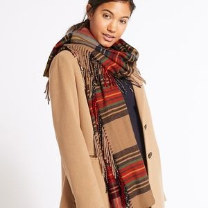 M&S Collection checked side fringe scarf